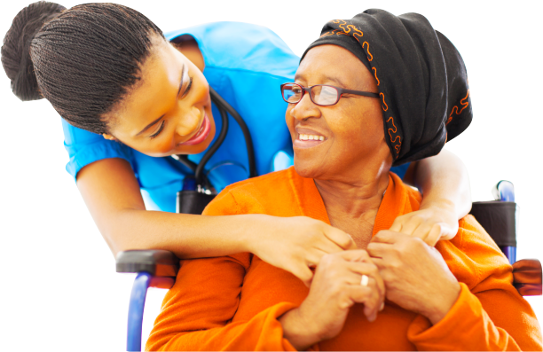 a caregiver and an senior woman with a glasses